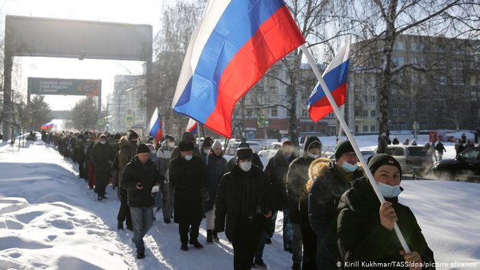 Russland Protest zur Unterstützung des inhaftierten Kremlkritikers Nawalny