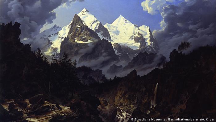 На этой картине Карла Эдуарда Бирмана 1830 года изображена вершина горы Веттерхорн в швейцарских Альпах
