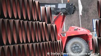Трубы для газопровода Северный поток - 2 в немецком порту Мукран. Власти ФРГ защищают проект, против которого выступают США и ряд европейских стран. Фото из архива