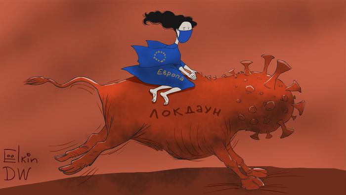 Женщина в голубом с надписью Европа едет на животном с головой, похожей на изображение ковида и надписью на нем локдаун