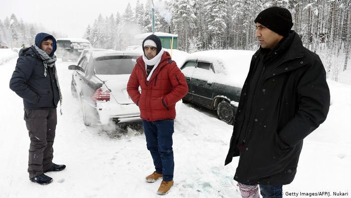 Мигранты на российско-финской границе