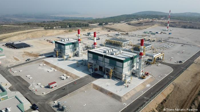 Компрессорная станция газопровода TAP вблизи греческой деревни Кипой.