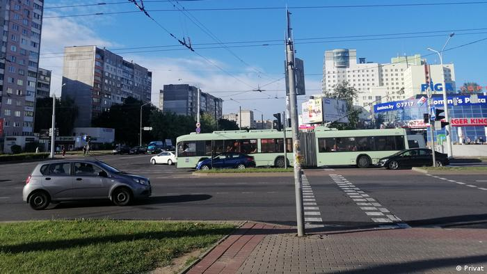 Перекресток возле торгового центра Рига в Минске
