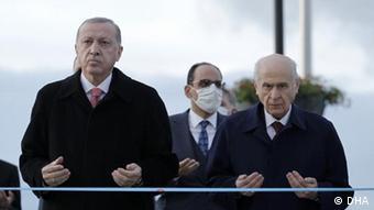 Президент Турции Реджеп Тайип Эрдоган и Девлет Бахчели, председатель партии MHP